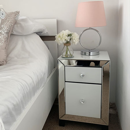 White mirrored bedside cabinet